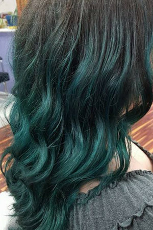 Dark hair with ombre blue ends