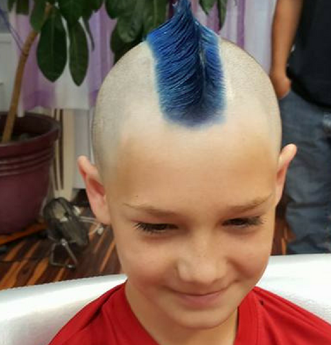 Boy with a blue mohawk